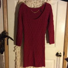 Gorgeous gorgeous red Guess sweater dress NWOT...never worn just hung in my closet. It sadly doesn't fit, so I need to sell it :( Guess Dresses