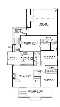 First Floor Plan of Colonial   Country   Southern   House Plan 62024
