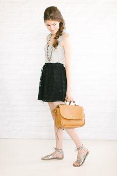 grey tank / eyelet skirt / unfancy style blog