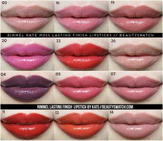 Rimmel Kate Lipstick swatches. Awesome drugstore lipsticks that are pigmented, creamy, wear exceptionally well and smell lovely. High end feeling lipstick with a drugstore price!!
