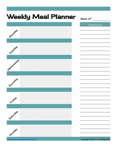 Weekly Meal Planner - meal planning on a budget, free printable meal planner #mealplanning