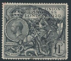 Great Britain, issued in 1929 : : to commemorate the 1929 Postal Union Congress, held in London, this was the second British commemorative stamp to be issued. Uk Stamps, Rare Stamps, Vintage Stamps, Postage Stamp Art, Going Postal, In China, Tampons, Stamp Collecting, Mail Art