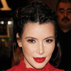 Kim Kardashian Looks Amazing With a Braided Updo and Red Lips (What Else is New?)