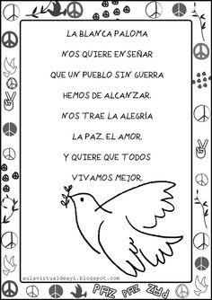 Aula virtual de audición y lenguaje: Poemas de la PAZ Preschool Spanish Lessons, Preschool Learning Activities, Holiday Activities, Teaching Spanish, Teaching Ideas, Spanish Posters, Spanish Songs, Peace Crafts, Simple Poems