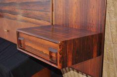 Rosewood Floating King Bed Headboard & Pair Nightstands Arne Vodder Danish Style image 4