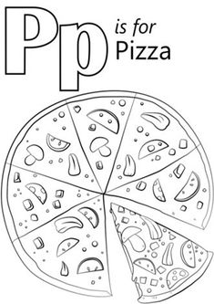 Pizza Coloring Page, Alphabet Coloring Pages, Free Printable Coloring Pages, Coloring Sheets, Coloring Books, Free Coloring, Tens And Ones Worksheets, Alphabet Worksheets, Kindergarten Worksheets