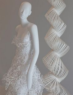 Paper Dress.  Stylish dress created out of paper by fashion design students.