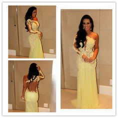 Hot A-line One-shoulder Sleeveless Court Train Yellow Chiffon Lace Backless Long Women Evening Prom Dresses Prom Gown
