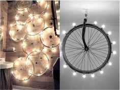 lámparas con ruedas de bicicleta Recycled Furniture, Unique Furniture, Indian Home Decor, Diy Home Decor, Window Display Retail, Recycling, Restaurant Lighting, House On The Rock, Bike Art