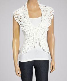Love this White Crocheted Vest - Women by Shoreline on #zulily! #zulilyfinds