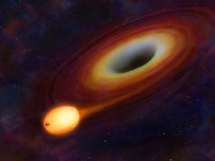 A star gets ripped to shreds as it falls into a supermassive black hole in an illustration. Illustration courtesy Mark A. Garlick, University of Warwick