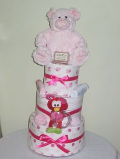 3 Tier Baby Girl Nappy Cake