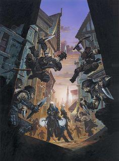 Pathfinder art by Reynolds: Wizard & Rogue versus the rest.