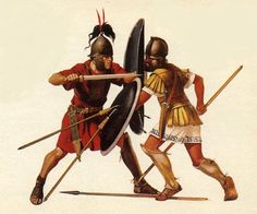 Roman Legionnaire perform thrust attack with his gladius against a Macedonian opponent after incumbent his shield with his pillums.