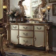 Vendome Dresser (Gold Patina) Acme Furniture, Furniture Styles, Glam Bedroom, Bedroom Inspo, Funky Painted Furniture, Patina Finish, Wood Dust, Wood Colors, Storage Spaces