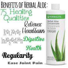 Acid reflux - gone! Irritable bowel syndrome -gone! So many benefits for drinking Aloe (Google it!) I love Herbalife Aloe!