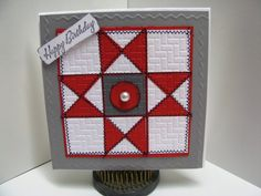 handmade greeting card: MMTPT258 Happy 100th Birthday Evelyn Lamb by GardenDiva  ... red, white and gray ... Ohio star pattern ... luv the decorative machine sewn zig lines around the edges of all the elements ... embossing folder texture ... delightful card!!