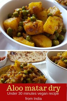 Dry aloo matar is a delicious vegan main course dish from India. Made with potatoes and green peas this amazing dish gets ready within 30 minutes. Serve with roti/ paratha/ poori or rice and daal and enjoy your lunch/ dinner. Delicious Vegan Recipes, Vegetarian Recipes, Vegan Vegetarian, Healthy Recipes, Dip Recipes, Vegan Main Course, Main Course Dishes, Side Dishes, Aloo Matar Recipe