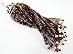 Long Metallic Brown Iris Beaded Tassel  Matte by LylaSupplies, $10.00