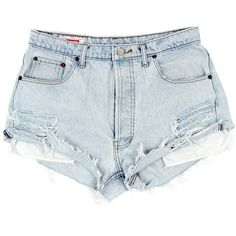 Original 501s [W31] (115 AUD) ❤ liked on Polyvore featuring shorts, bottoms, vintage shorts, denim cutoff shorts, frayed denim shorts, vintage distressed shorts and light blue denim shorts