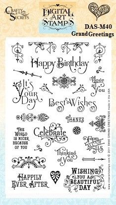 Digital Art Stamp Download Set created from the discontinued Clear Stamp Set Grand Greetings with 27 separate stamps that include a variety of ornate lettering styles and several versatile embellishment stamps you can mix and match to dress up greeting cards & gift tags.