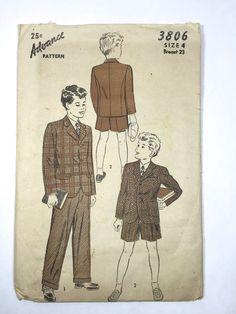 Vintage 1940s Advance Sewing Pattern 3806 Boy's Suit Coat Pants Shorts Sz 4