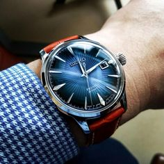 Seiko Cocktail Time Blue Moon on an orange croc strap from e-Bay. - Seiko Cocktail Time Blue Moon on an orange croc strap from e-Bay. Bulova Watches, Sport Watches, Cool Watches, Stylish Watches, Luxury Watches For Men, Seiko Presage, Hand Watch, Stainless Steel Bracelet, Moda Masculina