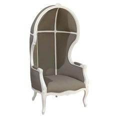 Grey Porter Chair | From a unique collection of antique and modern wingback chairs at https://www.1stdibs.com/furniture/seating/wingback-chairs/
