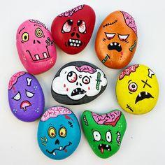 Halloween Rocks, Halloween Spider, Halloween Skull, Easy Halloween, Halloween Painting, Halloween Halloween, Sugar Skull Painting, Cupcake Painting, Black Cat Painting