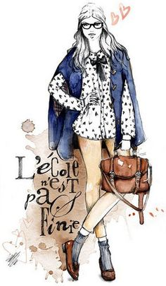 Fashion sketches by Lutheen - Lutheen, or Eva Caramelli, is a French illustrator who creates amazing and fascinating illustrations. Her style is very interesting. Especially, colors on her works. She uses watercolor technique, and this color play makes her works even more beautiful. In my opinion, this background creates a vintage effect.