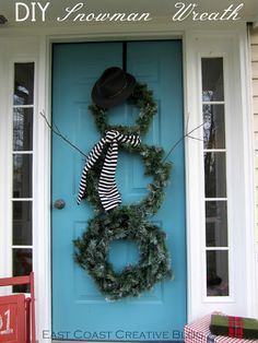 Seasonal Front Door Decor {DIY Snowman Wreath} - I'm thinking spraying them white and hanging on the tree out front since I won't be able to close my storm door with this on there Christmas Love, Christmas Snowman, Winter Christmas, All Things Christmas, Christmas Wreaths, Christmas Decorations, Christmas Ideas, Merry Christmas, Diy Snowman