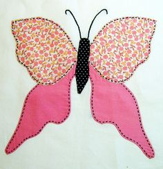 Applique Butterfly Quilt – WIP – Q is for Quilter Butterfly Quilt Pattern, Applique Quilt Patterns, Butterfly Template, Applique Templates, Butterfly Crafts, Pattern Blocks, Applique Designs, Embroidery Applique, Embroidery Designs