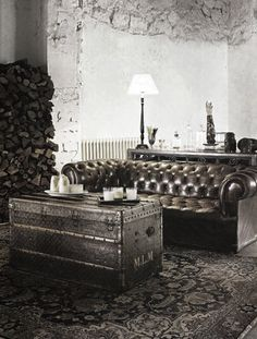 tuffed leather couch ...old steamer trunk ...oriental rug
