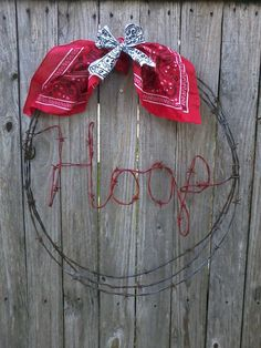 ArkansasHogs Barbed Wire Wreath free shipping by brandypotter1, $36.00
