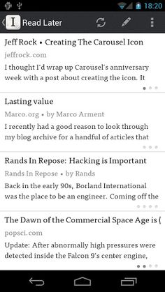 Instapaper v1.2  Requirements: Android 2.2 and up  Overview: A simple tool to save web pages for reading later.
