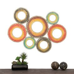 Urban Designs Bohemian 7 Piece Metal Mosaic Wall Decor Mirror Set