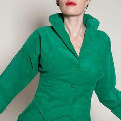 Vintage 1950s Skirt Suit Green Corduroy #vintage #1950s #kellygreen #holidayfashions #suit #skirt @Etsy