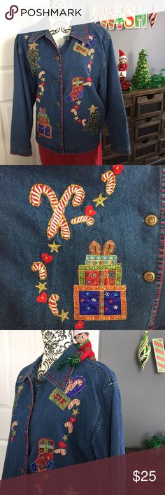 "Ugly Christmas Sweater Party! Jacket shirt (o3) Ugly Christmas Sweater party Denim jacket / top. Measurements laying flat are: Length 25, armpit to armpit 21"",  sleeve 22"". Overall good condition. 🎀Suggested User🎀 Ugly Christmas Tops Button Down Shirts"