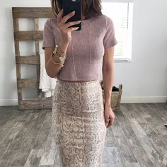 Blush colored, soft cropped tee with ribbed/textured detail. Model is wearing Small. shop the look: SKIRT