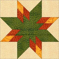(7) Name: 'Quilting : Star Block Pattern 12 Inch Block