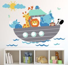 Children Wall Decal Noah's Ark with Personalized Name Wall Decal. $129.00, via Etsy.