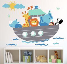 Kids Cartoon Noahs Ark Animal Characters Wall Sticker Large Peel - Wall decals noah's ark
