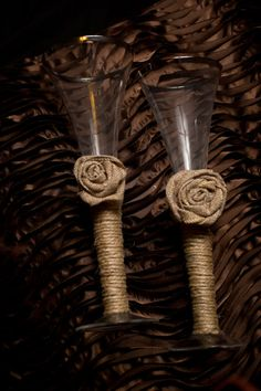 Twine Burlap Country Rustic Wedding Toasting Glasses Burlap Rose Champagne Flute on Etsy, $24.99