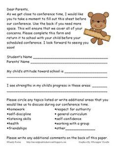 92 best parent teacher conferences images on pinterest parent parentteacher conferences parent letters spiritdancerdesigns Images