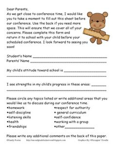 Parent Teacher Conferences: primary student self-evaluation and ...