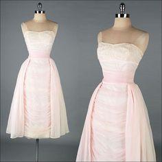 Vintage 1950s Dress  Pale Pink  Wiggle  Lace  by millstreetvintage, $385.00