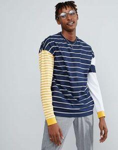 ASOS – Langärmliges Oversize-T-Shirt mit Kontraststreifen