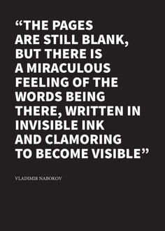 The pages are still blank ... Nabokov.