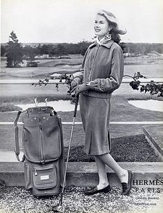 Hermès (Couture) 1958 Suit & Bag Golf, Fashion Photography   It's about more than golfing,  boating,  and beaches;  it's about a lifestyle  KW  http://pamelakemper.com/area-fun-blog.html?m