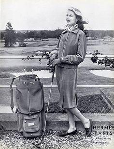 Hermès (Couture) 1958 Suit & Bag Golf,